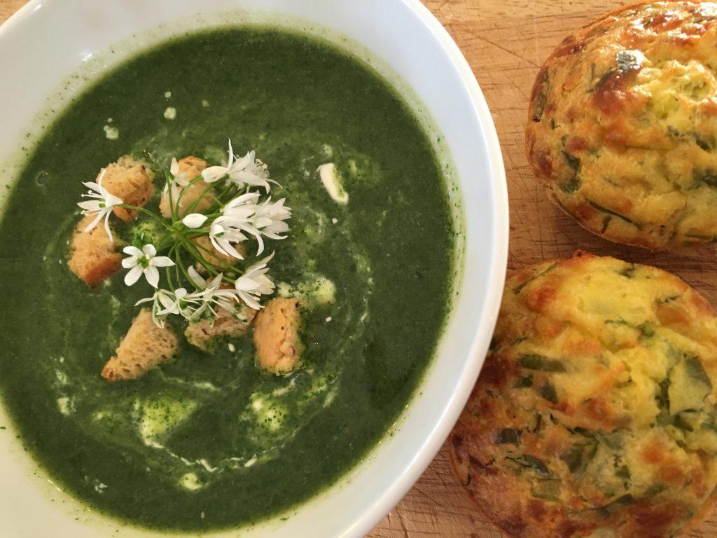 Wild nettle soup & cheesy wild garlic muffins