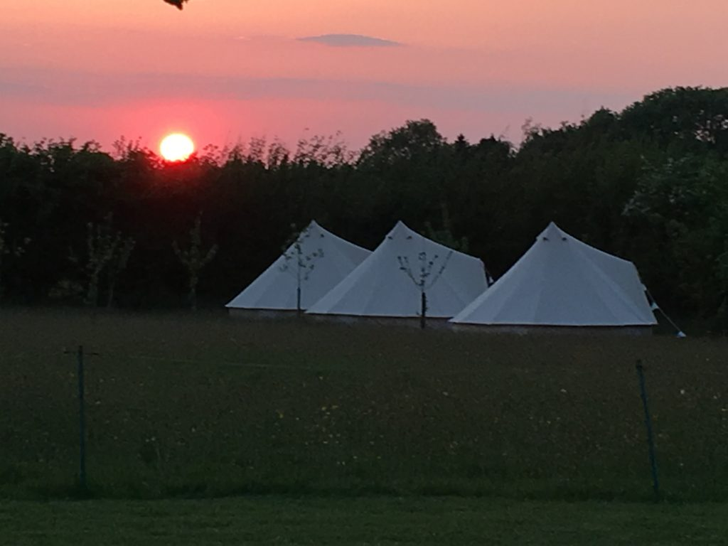 Sunset over the glamping site